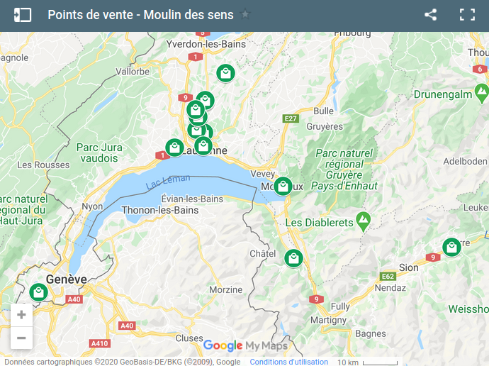 Carte qui positionne une liste de points de vente